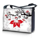 """LSS 17-17.3"""" inch Laptop Padded Compartment Shoulder Messenger Bag with Colorful White Grey Branches Floral Blue Floral Carrying Case for 16"""" 17"""" 17.3"""" & Smaller Size Notebook"""