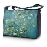 """LSS 15"""" 15.6 inch Laptop Padded Compartment Shoulder Messenger Bag with Trees Light Blue Carrying Case for 14"""" 15"""" 15.6"""" & Smaller Size Notebook"""