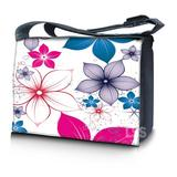 """LSS 17-17.3"""" inch Laptop Padded Compartment Shoulder Messenger Bag with Colorful White Pink Blue Flower Leaves Carrying Case for 16"""" 17"""" 17.3"""" & Smaller Size Notebook"""