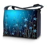 """LSS 17-17.3"""" inch Laptop Padded Compartment Shoulder Messenger Bag with Colorful Blue Floral Carrying Case for 16"""" 17"""" 17.3"""" & Smaller Size Notebook"""