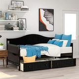 Twin Daybed with 2 Drawers, Wooden Storage Bed Frame, Daybed with Storage, Espresso