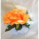 Pin Corsages ~ Many Colors ~ Mother Wedding Prom Silk Flowers Roses Calla Lily (Peach)