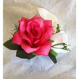 Pin Corsages ~ Many Colors ~ Mother Wedding Prom Silk Flowers Roses Calla Lily (Fuschia Pink)