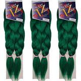 Pre-Stretched Braiding Hair Extensions – 48 Inch Long Unfolded – 6 Bundles Total – Xpression 100% Kanekalon Hair Extensions – TZ Braid Hair Extensions – Synthetic Hair (NJADEGREEN)