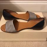 J. Crew Shoes | J Crew Dorsay Canvasleather Open Toe Flats | Color: Blue/Cream | Size: 10