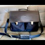 Coach Bags | Mens Coach Leather & Fabric Laptop Bag. | Color: Black | Size: Can Fit Up To 17 Laptops Depending On Laptop.