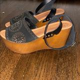 Anthropologie Shoes | Platform Wooden Suede Sandal | Color: Black/Tan | Size: 37