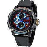 MEGALITH Men's Watch 50mm Rubber Chronograph Waterproof Large Face Watch Silicone Military Sport Analog Heavy Duty Watches for Men Luminous Multifunctional Cool Designer Gents Wrist Watches Black Red