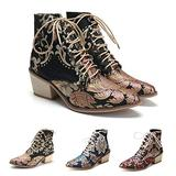 Women's Vintage Ankle Boots Embroidered Low Block Heel with Pointed Toe Lace up Ankle Bootie for Women Floral Dress Short Booties Chunky Stacked Block Heels Cowboy Boots Black 7.5