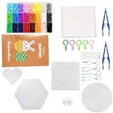 FASHEWELRY DIY Fuse Beads Kit with 3048Pcs Fuse Beads & 2Pcs Tweezers & 4Pcs Pegboards Ironing Paper Ball Chains Jump Rings Keychain Clasp for Decoration DIY Crafts (24 Colors)