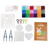 FASHEWELRY DIY Fuse Beads Kit with 1620Pcs Fuse Beads & 2Pcs Tweezers & 4Pcs Pegboards Ironing Paper Ball Chains Jump Rings Keychain Clasp for Decoration DIY Crafts (18 Colors)