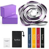 Syntus 9-in-1 Yoga Set, 1 Yoga Strap with 12 Loops, 2 EVA Foam Soft Non-Slip Yoga Blocks 9×6×4 inches,4 Resistance Bands with Instruction Book for Yoga, Pilates, Stretchings (Purple)