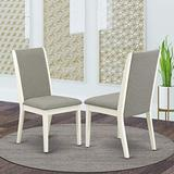 East West Furniture Lancy Parson Chair, Standard Height, Shitake Linen Fabric