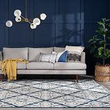 Smithson Dark Blue 5x7 Rectangle Area Rug for Living, Bedroom, or Dining Room - Traditional, Floral