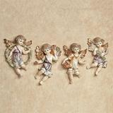Cherubs and Blooms Wall Plaque Set Pastel Set of Four, Set of Four, Pastel