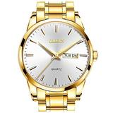 OLEVS Mens Gold and Silver Watch for Men Day Date Luxury Quartz Man Wristwatch Stainless Steel Waterproof Mens Watches Dress Relojes De Hombre Big Gold Face Luminous Best Male Watch with Battery