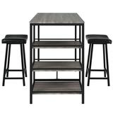 Costway 3 Pcs Counter Height Dining Bar Table Set with 2 Stools and 3 Storage Shelves-Black