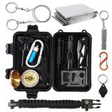 Survival Kit, 15 in 1 Survival Gear and Equipment, Emergency Camping Survival Gear Tools, First Aid Kits, Birthday Gifts for Men Women Dad Husband for Hiking, Hunting, Adventures Outdoors Sport