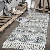 Abreeze Cotton Area Rug Runner 2'x 4.2' Machine Washable Printed Hand Woven Cotton Rug Runner Floor Carpet for Living Room,Kitchen Floor,Laundry Room,Throw Blankets for Sofa