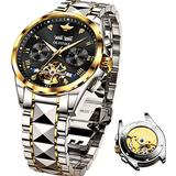 Swiss Made Watches for Mens Luxury Dress Automatic Mechnical Chronograph Black Flywheel Wrist Watches - Sapphire Crystal & Waterproof 50M & Swiss Luminous Tungsten Steel
