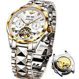 Swiss Made Mens Watches Luxury Tungsten Steel Automatic Mechnical Chronograph Flywheel Wrist Watches - Sapphire Crystal & Waterproof 50M & Swiss Luminous