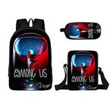 3 Pieces Among us Design Bags Set Girls School Backpack Bookbag with Small Boys Lunch Box Pack +Pencil Bag Holder for Kids Student/I