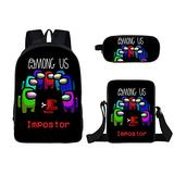 3 Pieces Among us Design Bags Set Girls School Backpack Bookbag with Small Boys Lunch Box Pack +Pencil Bag Holder for Kids Student/G