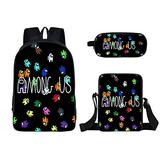 3 Pieces Among us Design Bags Set Girls School Backpack Bookbag with Small Boys Lunch Box Pack +Pencil Bag Holder for Kids Student/J