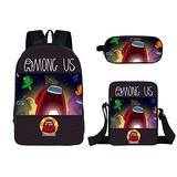 3 Pieces Among us Design Bags Set Girls School Backpack Bookbag with Small Boys Lunch Box Pack +Pencil Bag Holder for Kids Student/B