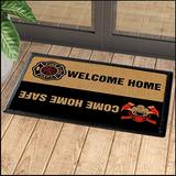 Firefighter Welcome Home Come Home Safe Indoor and Outdoor Doormat Warm House Gift Welcome Mat Gift for Firefighter Gift for Firefighter Lovers Birthday Gift (Indoor & Outdoor Doormat 30x18)