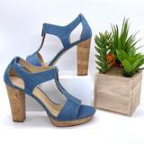 Michael Kors Shoes | Michael Kors Mk Light Denim Cork Heels Sandals | Color: Blue/Cream | Size: 9.5