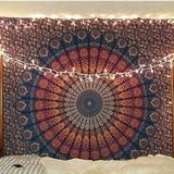 Urban Outfitters Wall Decor   Boho Mandela Tapestry Wall Art Hanging Bed Sheet   Color: Blue/Gold   Size: Os
