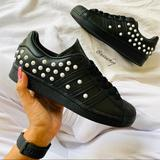 Adidas Shoes | New Adidas Superstar Studs Black Shoes | Color: Black/White | Size: Various