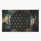 Sacred Geometry Area Rug Flower of Life Rug Spiritual Rug Black Floor Rug 4x6 5x7 8x10 9x12 Large Rugs Sacred Geometry Decor Zodiac Rug Gold (Fabric Washable Rug, 5' x 7')
