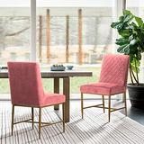 Armen Living Memphis Pink Velvet and Antique Brass Accent Dining Chair-Set of 2
