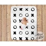 Personalized Blanket-XO Baby Blanket, Black and White, Modern Baby Blankets, Monochrome, Scandinavian Baby Bedding, Stroller Blankets, Unisex, Crib Blanket, XO-Custom to Select Size