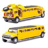 NMBD Diecast & Toy Vehicles high Simulation 1:32 Alloy for Hummer Limousine Metal diecast car Model Pull Back Flashing Musical Kids Toy Vehicles (Color : Yellow)