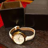 Michael Kors Accessories | Michael Kors Women'S Leather Strap Watch | Color: Gold/White | Size: Case Thickness: 12 Mm. Band Width: 12 Mm.