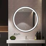 "Latitude Run® 19.7"" Round Mirror For Bathroom LEDCircle Wall MirrorMetal in Black, Size 19.7 H x 19.7 W x 1.57 D in | Wayfair"