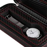 Watches Box Watch Display Storage Box 2 Watch Bracelet Box Watch Zipper Bag Travel Watch Packaging PU Leather Carbon Fiber Small Black (Color : Black, Size : Small) ( Color : Black , Size : Small )