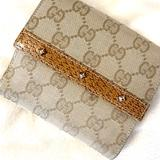 Gucci Bags | Gucci Studded Bi-Fold Canvas Leather Wallet | Color: Tan | Size: Os
