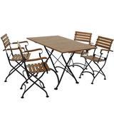 Sunnydaze Decor DMR-820-752-4 Essential European Chestnut Wood 5-Piece Folding Table and Chairs Set