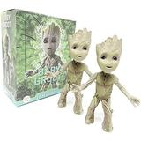 2Pcs Groot Tiny Cute Baby Tree Man Action Figure Toys,POP Movies Hero Model Doll Toy Guardians of The Galaxy Boy&Girl Gift