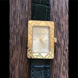 Burberry Accessories | 6xhp! Authentic Burberry Gold Tone Tank Watch | Color: Gold/Green | Size: 7.75