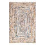 nuLOOM Indoor Rugs Blue - Beige & Blue Eliz Hand-Braided Rug