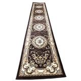 Traditional Long Runner Oriental Aubusson Floral Area Rug Persian 330,000 Point Brown & Beige Design 602 (31 Inch X 15 Feet 8 Inch)