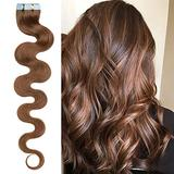 40 PCS Rooted Tape In Remy Human Hair Extensions Invisible Seamless Skin Weft Body Wave Highlight Double Side Tape Remy Human Hair Extensions Balayage Wavy For Women (18'',100g/40pcs,#6 Light Brown)