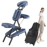 Master Massage Portable Massage Chair Professional, Light-Weight Folding Massage Chair Professional for Massage Therapist, with Wheels Carrying Case and PU Leather- Royal Blue