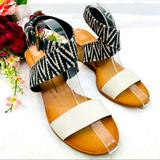 Anthropologie Shoes | Dolce Vita Canvas Cross Ankle Strap Wedge Sandal | Color: Black/Cream | Size: 9
