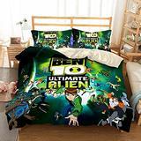 Queen Bedding Set Ben-10 Duvet Cover Bed Set Games Theme Bedding Set Bedding Cover Set Teens Bed Set Ben-10 Bedding Set Bed Cover Girls Boys